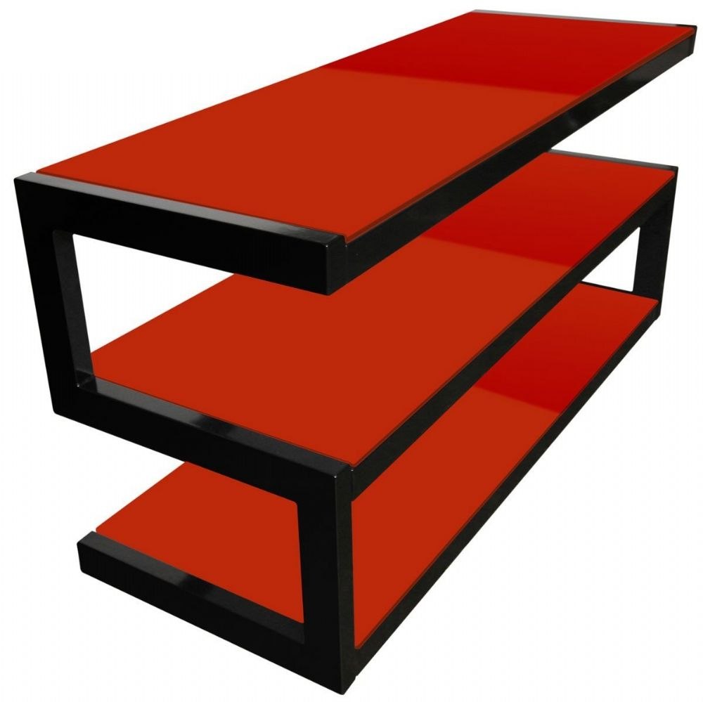 norstone esse 3 shelf av tv stand with glass red 1100mm. Black Bedroom Furniture Sets. Home Design Ideas