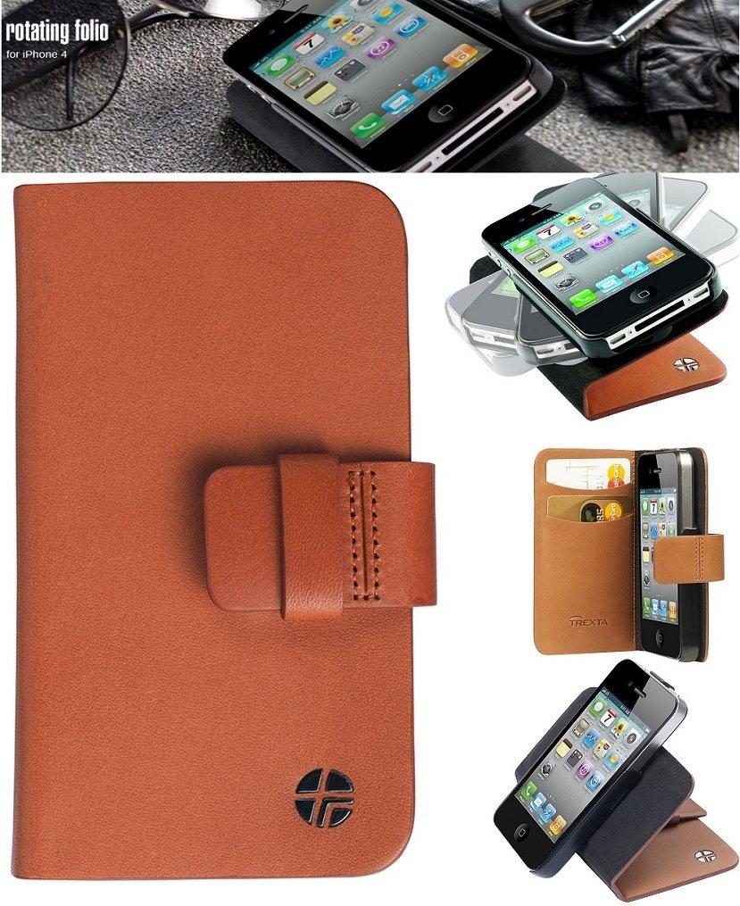 Trexta Rotc Iphone 4 4s Genuine Leather Tan Rotating Flip Case