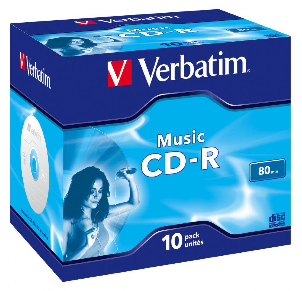 verbatim audio cd r jewel case blank music cdr 10 disc pack 43365. Black Bedroom Furniture Sets. Home Design Ideas
